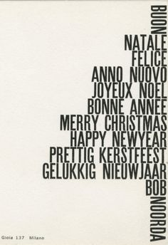 """I think the FR alignment works wonderfully for this Christmas tree made up of all of the ways to say """"Merry Christmas"""" in different languages. And although there is minimal leading throughout, it works here, since any wider leading would not have given the same look."""