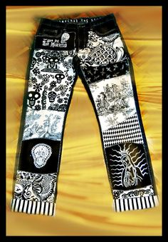 Day of the Dead patchwork jeans by 4getmeknot Wearable ⒶⓇⓉ