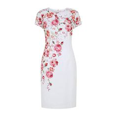 SheIn(sheinside) White Round Neck Short Sleeve Floral Print Dress ($49) ❤ liked on Polyvore featuring dresses, white, floral dress, sleeveless bodycon dress, body con dress, bodycon dress and white body con dress
