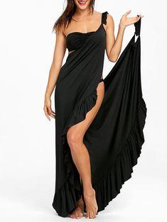 Wrap Flounce Beach Cover Up Dress - Casual Dresses For Women, Dresses For Sale, Nice Dresses, Stylish Dresses, Swimwear Cover Ups, Swimsuit Cover Ups, Swim Cover Up Dress, Look Fashion, Fashion Outfits