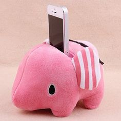6 stuffed short plush Cute animal, pink Elephants Shape Mobile Phone Sofa / Bean Bag Holder