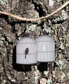 Bird cage shrink plastic earrings