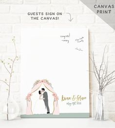 Miss Design Berry's wedding guestbook is perfect for an outdoor wedding (as an alternative to the traditional guest book) and features a customized portrait of the couple under a flower archway. See more here: https://www.etsy.com/listing/290999375/outdoor-wedding-guest-book-gold?ref=related-2