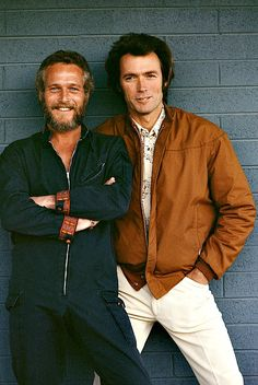 A chance meeting between Paul Newman and Clint Eastwood in Tucson, Arizona.  Photographed by Terry O'Neill, 1972.