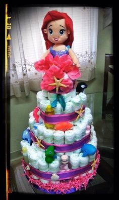 Adorable diaper cake for an under the sea baby shower.