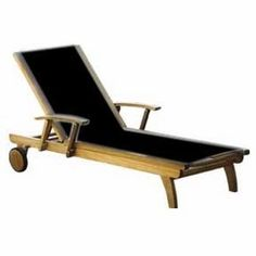Superior Quality Three Birds Riviera Teak Lounger - Select from 6 Color Options on the sling.  Black, White, Lime, Red, Sea Isle Blue and Suncast.