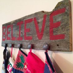 Barn wood Christmas Stocking Hanger - Rustic reclaimed barn wood by 3SistersCountryStore on Etsy
