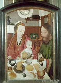 Jan Mostaert - Die Heilige Familie beim Mahle