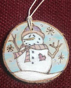 Snowman Woodburned Ornament