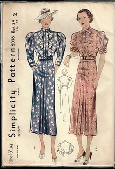 Simplicity 2036 Dress 30s B34 Unused Complete FF nsld 22+4 0bds 6/12/15