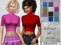 Knitted sweater with short sleeves by EsyraM at TSR • Sims 4 Updates