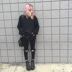 Immagine di grunge, black, and hair