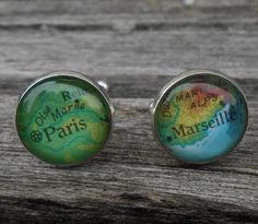Vintage FRANCE Map Cufflinks. Paris & Marseille.  Wedding, Men's Christmas Gift, Dad. Custom Orders Welcome. Eire by TreeTownPaper on Etsy