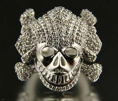 .925 Silver White Finish Czs Skull Ring