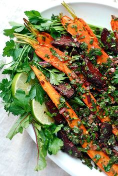 Roasted beet and carrot salad with beet green salsa verde.