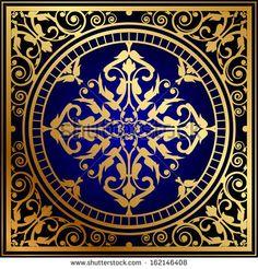 Vector illustration of oriental blue & gold rug by Yulia Glam, via Shutterstock