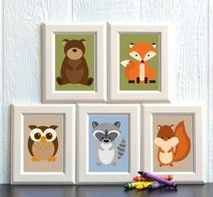 Woodland Animal Nursery Print Set FREE SHIPPING by HowIWonderShop, $24.95