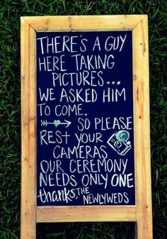 A cute way to let your guests know that you're having an UNPLUGGED wedding ceremony!