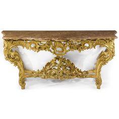 A Bavarian Rococo giltwood console table, possibly by Johann Caspar Hörspurcher, Munich, circa 1760.