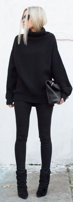 Love the entire black outfit look-- very classy. maybe add a broach/pin/ necklace for… - Love the entire black outfit look& very classy. maybe add a broach/pin/ necklace for a pop of color and an accesory Outfit Des Tages, Mode Costume, Outfit Look, Elegantes Outfit, Looks Black, Business Outfit, Fall Business Casual, Business Dresses, Look Fashion