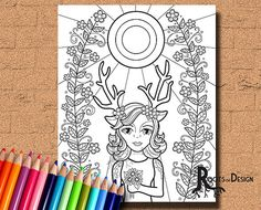 INSTANT DOWNLOAD Coloring Page Deer Girl Art by RootsDesign
