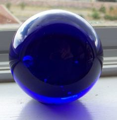 COBALT BLUE Art Glass Signed Paperweight Crystal Ball