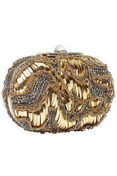 Elie Saab - Accessories gold and silver clutch handbag Beaded Purses, Beaded Bags, Fashion Handbags, Purses And Handbags, Handbag Accessories, Fashion Accessories, Madrid, Purse Styles, Gold Fashion