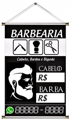 Banner Pronto Barbearia Barber Store, Barber King, Garage Cafe, E Tattoo, Haircuts For Men, Banner, Hair Cuts, Lettering, Living Room