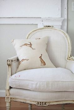 Classic White linen or metis upholstery on a Bergère chair, with Hare cushion Muebles Shabby Chic, French Chairs, Nursery Inspiration, Pillow Inspiration, Take A Seat, French Decor, My New Room, Classic White, French Classic