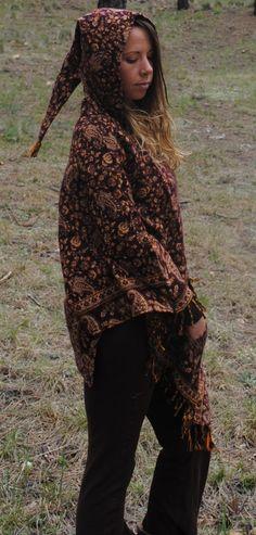 Yak Wool Hooded Poncho Shawl Elven Hood Funky Flower Print Hippie Travel Gypsy Elf Fairy Pixie by UbuntuThreads on Etsy Poncho Shawl, Hooded Poncho, Wool Poncho, Flower Prints, Pixie, Elf, Gypsy, Hoods, Aesthetics