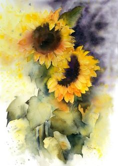 Brighten any living space with this sunflower framed wall art by Americanflat. Watercolor Sunflower, Sunflower Art, Watercolor Flowers, Watercolour Painting, Painting Prints, Watercolors, Watercolour Tutorials, Lovers Art, Art Drawings