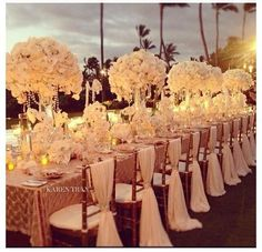Amazing all white outdoor wedding reception . Just beautiful.