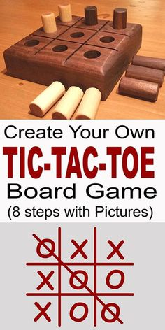 Woodworking For Beginners Tic-Tac-Toe Game Board. Learn how to create your own Tic-Tac-Toe game. Makes a great gift or present. Fun for all ages. - Learn how to make a Tic-Tac-Toe game. A homemade wooden Tic Tac Toe game is fun for all ages and Woodworking For Kids, Easy Woodworking Projects, Popular Woodworking, Diy Wood Projects, Woodworking Shop, Wood Crafts, Woodworking Plans, Woodworking Furniture, Woodworking Classes