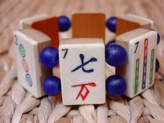 Mah Jong Bracelet / Mah-Jong / Bracelet / Mahjongg / Mah-Jongg / Mah Jongg / Cobalt / Vintage / Bone / Bamboo / Dovetailed / Hand Carved by minxandmaven on Etsy