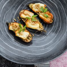 Starters - Halloumi on a bed of eggplants Eggplants, Halloumi, Starters, Bed, Recipes, Rezepte, Eggplant, Recipe
