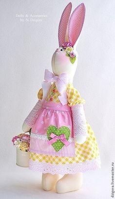 Animales de juguete, hecho a mano. Claire. Bunny - florista. Jigoro Natalia. Masters Feria. Tilde Bunny, amarillo y rosa, lamentable