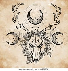 stock-vector-beautiful-scull-tattoo-art-vintage-deer-scull-pagan-style-antlers-with-branches-and-ornate-moons-309817661.jpg (Imagen JPEG, 450×470 pixels)