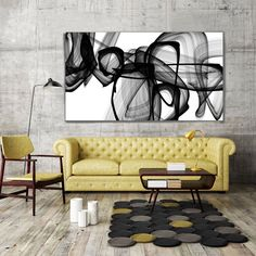 I Exist. Large Abstract Black and White Contemporary by irenaorlov
