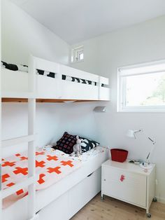 White modern bunk beds