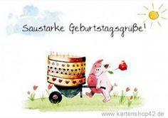 Kunst und Bild Saustarke Geburtstagsgrüße -Postkarte - Grußkarte von Helme Heine   Kartenshop42