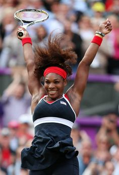 Serena Williams of the United States reacts after defeating Maria Sharapova of Russia to win the gold medal.