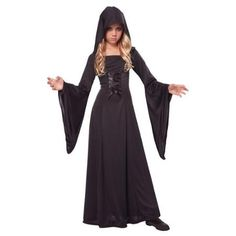 This kids vampire costume includes a black hooded robe with bell drape sleeves and lace-up front detail. This child hooded robe makes a dramatic sorceress, vampire or witch costume for Halloween. Girls Vampire Costume, Vampire Costumes, Halloween Costumes For Girls, Halloween Fancy Dress, Gothic Vampire Costume, Kids Costumes Girls, Girl Costumes, Angel Costumes, Carnival