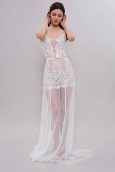 4a10be0554 Long Tulle Bridal Nightgown With Lace F31(Lingerie)