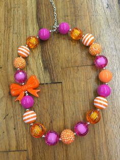 Pink and orange  chunky necklace jewelry toddler photo shoot #bowtifulblessings