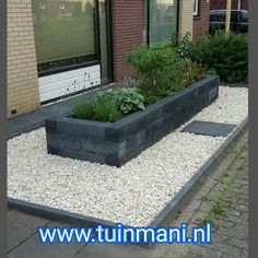 A front garden with concrete tiles of in anthracite color. With anthraci. A front garden w Garden Lighting Diy, Vertical Vegetable Gardens, Vegetable Gardening, Garden Retaining Wall, Small Front Gardens, Rose Garden Design, Garden Drawing, Concrete Tiles, Yard Design
