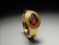 Ancient Roman Carnelian Stone Intaglio of Goddess Set in Solid Gold
