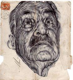 Mark Powell's Vivid Biro Pen Portraits on Antique Envelopes Ballpoint Pen Drawing, Ink Pen Drawings, Cool Drawings, Drawing Faces, Realistic Drawings, Collages, Mark Powell, L'art Du Portrait, Colossal Art