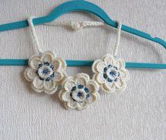 Crochet Necklace Sweater Necklace Ivory by CraftsbySigita