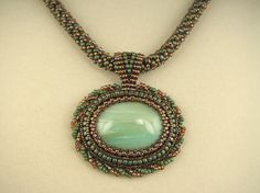 Beadwork Pendant with Amazonite Cabochon on a by uniquefeats, $110.00
