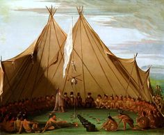 """""""Sioux Dog Feast"""" by George Catlin, oil on canvas, 1832-1837"""